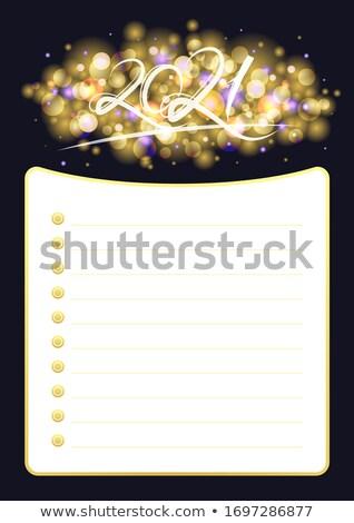 Vidám karácsony arany csillámlás keret arany Stock fotó © masay256