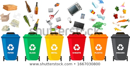 vector isometric set of waste sorting cans stock photo © curiosity