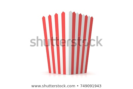 pattogatott · kukorica · vödör · piros · citromsárga · fehér · étel - stock fotó © popaukropa