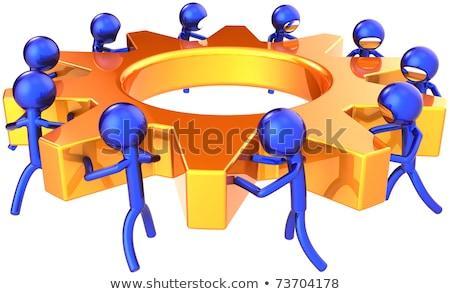 dourado · metálico · engrenagens · maquinaria · serviço · ilustração · 3d - foto stock © tashatuvango