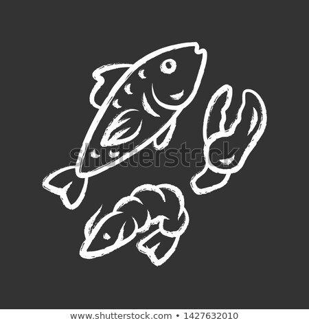Fish and seafood chalk icons Stock photo © Genestro