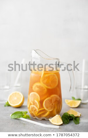 Stock photo: Lemon tea in a glass