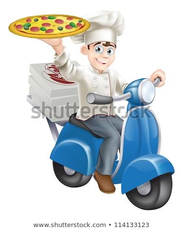 Cartoon · entrega · pizza · chef · negro - foto stock © krisdog