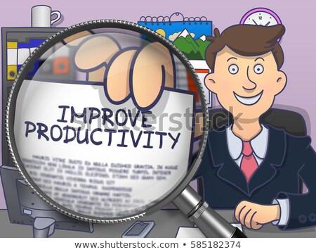 Produktiviteit lens doodle stijl zakenman kantoor Stockfoto © tashatuvango