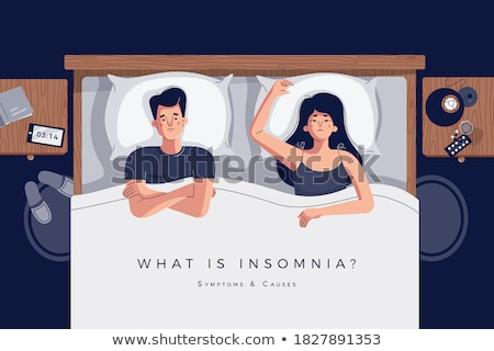 couple bed boy phone stock photo © lenm