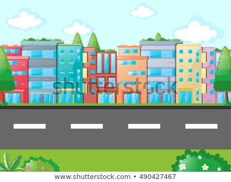 Környék jelenet sok házak út illusztráció Stock fotó © colematt