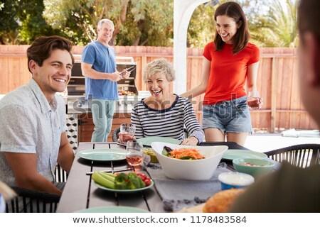 ママ 座って パティオ 庭園 女性 ストックフォト © IS2