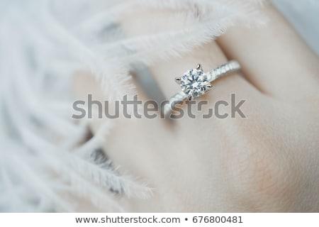 Női kéz gyémántgyűrű nő portré ékszer Stock fotó © IS2