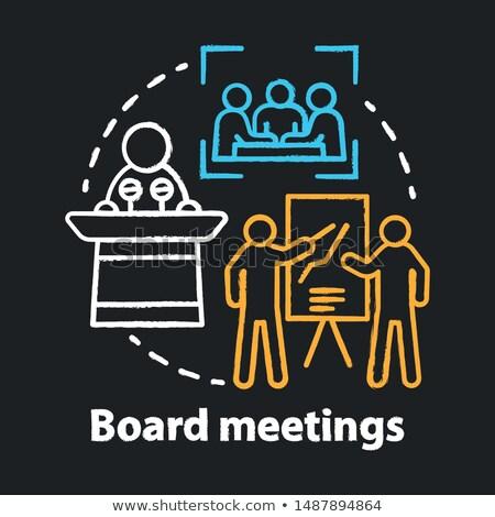 Vergadering agenda schoolbord werken tabel Stockfoto © tashatuvango