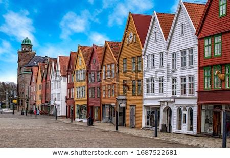 Tipikus utca Norvégia fehér fából készült házak Stock fotó © compuinfoto
