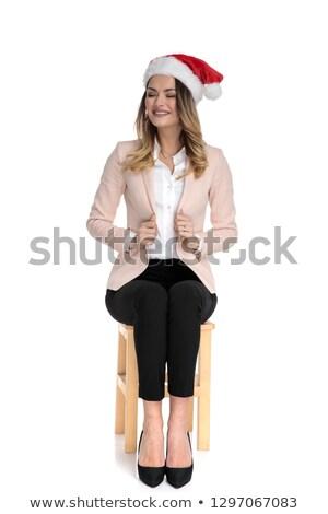 Szőke nő lezser nő tart pólók külső Stock fotó © feedough