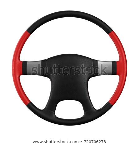 couro · volante · isolado · preto · retro · branco - foto stock © iserg