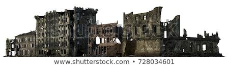 Vernietigd gebouw oorlog beton Windows Europa Stockfoto © alexeys