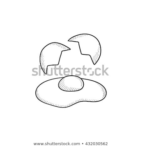 egg vector icon isolated sketch pictogram broken egg and shells stock photo © nikodzhi