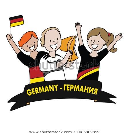 German girl cheerleader fan hold flag. Soccer championship Stock photo © orensila