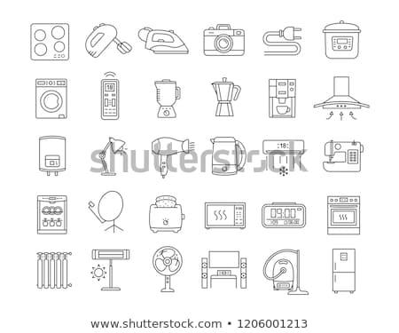 Háztartási gépek ikonok vékony vonalak szett különböző Stock fotó © kup1984