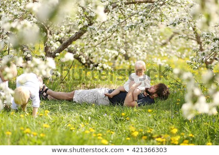 3 young girls playing under tree Stock photo © IS2