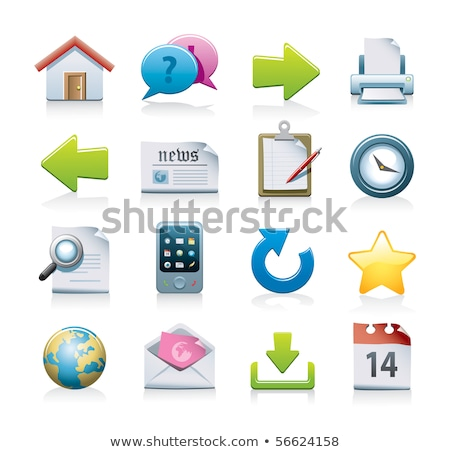 Lucido icone web set clock segno web Foto d'archivio © pathakdesigner