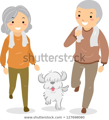 Cartoon senior woman walks with a walking stick and the dog illustration isolated stock photo © tiKkraf69