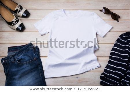 Girl Striped Breton Shirt Stock photo © lenm