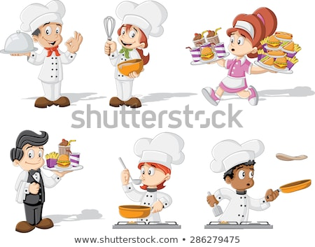 Cartoon Character Chef Woman Holding Burger Stock photo © Krisdog