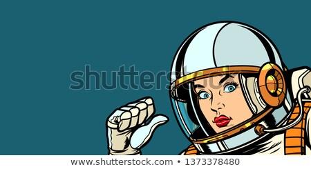 astronaut woman fist hand pointing at herself Stock photo © studiostoks