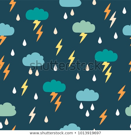 Cloud and lightning pattern seamless. Thunderstorm background. S Stock photo © MaryValery