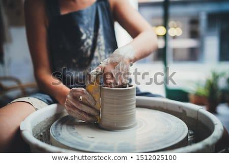 Ceramica vaso lavoro dito fango Foto d'archivio © msdnv