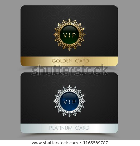 Vector golden and platinum VIP card template. Crown round frame with gem on black geometric pattern Stock photo © Iaroslava