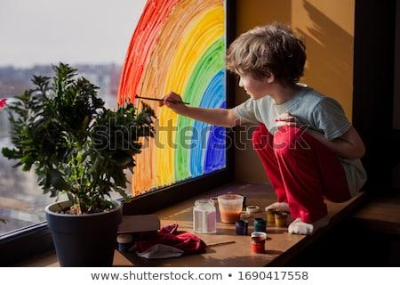 ребенка · мало · мальчика · сидят · зеленый - Сток-фото © vintrom