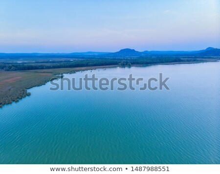 Evening aerial drone picture from a lake Balaton of Hungary Stock photo © digoarpi
