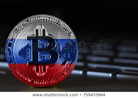 Golden bitcoin digital currency on laptop keyboard Stock photo © manaemedia