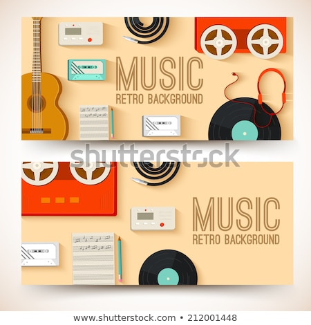 old music studio equipment horizontal banners concept. Vector illustration design stock photo © Linetale