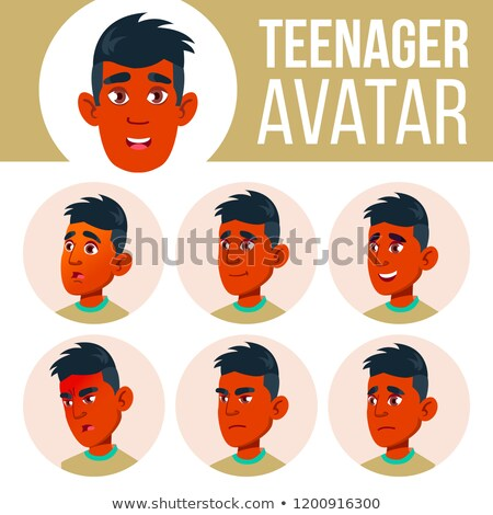 Teen Boy Avatar Set Vector. Indian, Hindu. Asian. Face Emotions. Children, Young People. Life, Emoti Stock photo © pikepicture