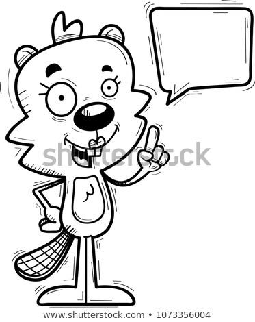 cartoon female beaver talking stock photo © cthoman
