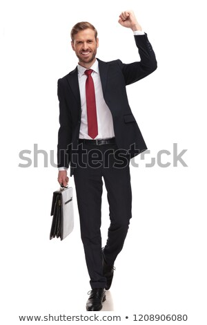 excited businessman stepping and celebrating his new job Stock photo © feedough