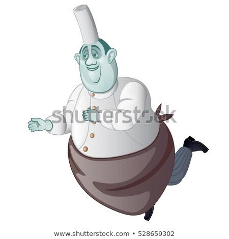 rajz · szellem · szakács · izolált · fehér · étterem - stock fotó © Lady-Luck