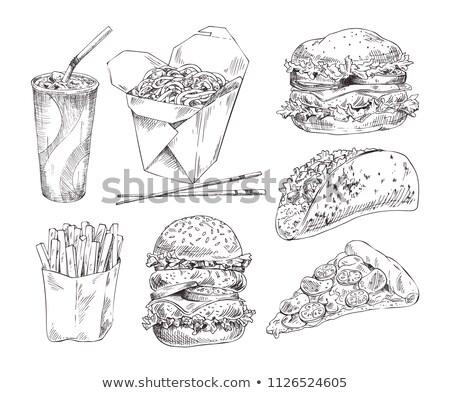 Fast food monochroom icon promo ingesteld vector Stockfoto © robuart