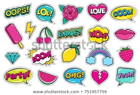 Set sticker lightning, vector illustration. stock photo © kup1984