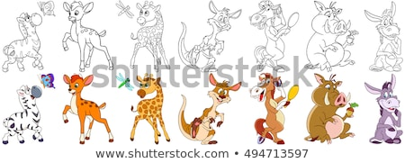 Cute forest animal, cartoon deer with long horns Stock photo © MarySan