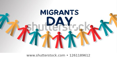 Migrants Day card of people paper garland Stock photo © cienpies