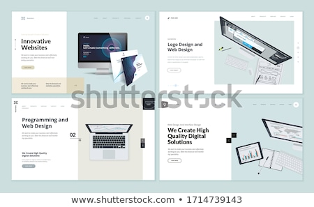 Stockfoto: Research - Modern Isometric Vector Landing Page Template