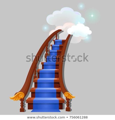 Trap Blauw tapijt leidend wolken Stockfoto © Lady-Luck