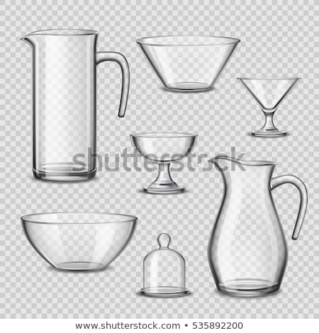Transparent Glass Set Vector. Transparent Empty Glasses Goblets For Water, Alcohol, Juice, Cocktail  Stock photo © pikepicture