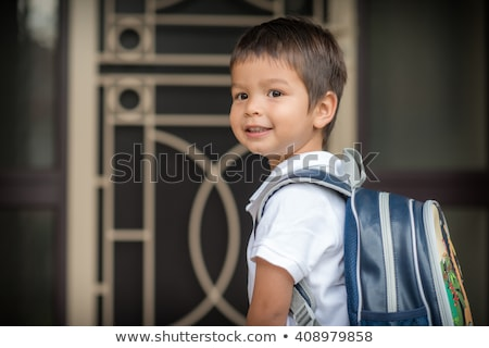 child Caucasian leaves home for his first day at preschool Stock photo © Lopolo
