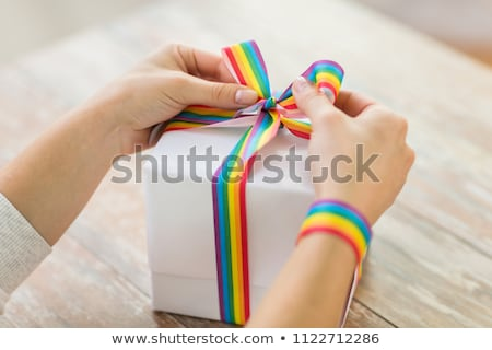 close up of present with gay awareness ribbon Stock photo © dolgachov