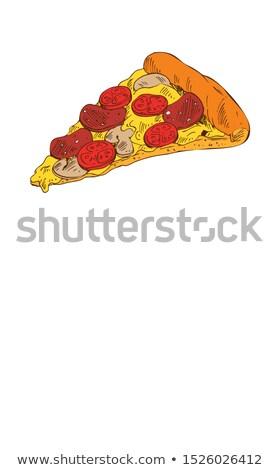 пиццы · салями · вкусный · изолированный · белый · вектора - Сток-фото © robuart