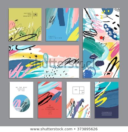 wedding invitation card design with watercolor brush stroke Stock photo © SArts