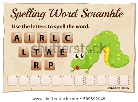 Ortografia palavra lagarta ilustração escolas natureza Foto stock © colematt