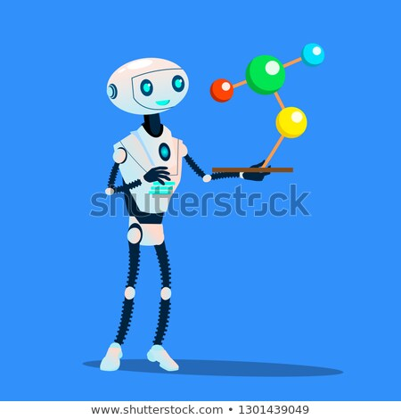 robots study large molecule vector isolated illustration stock photo © pikepicture